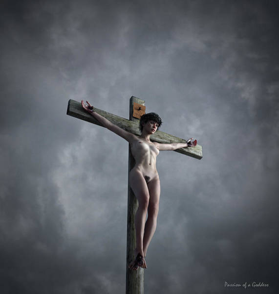 Wall Art - Digital Art - Grey Sky Crucifix by Ramon Martinez
