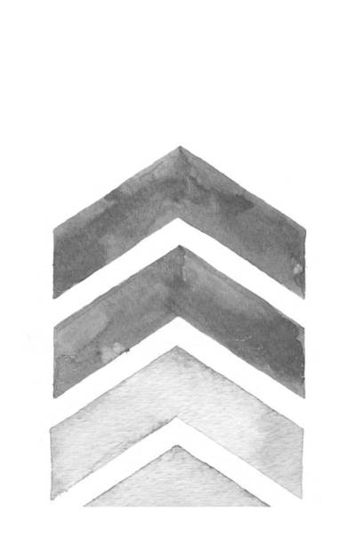 Wall Art - Digital Art - Grey Watercolor Chevron by Nordic Print Studio