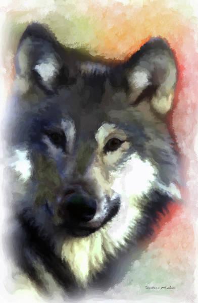 Digital Art - Grey Wolf by Barbara A Lane