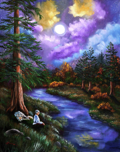 Full Moon Painting - Grey Wolf Warrior Meditation by Laura Iverson
