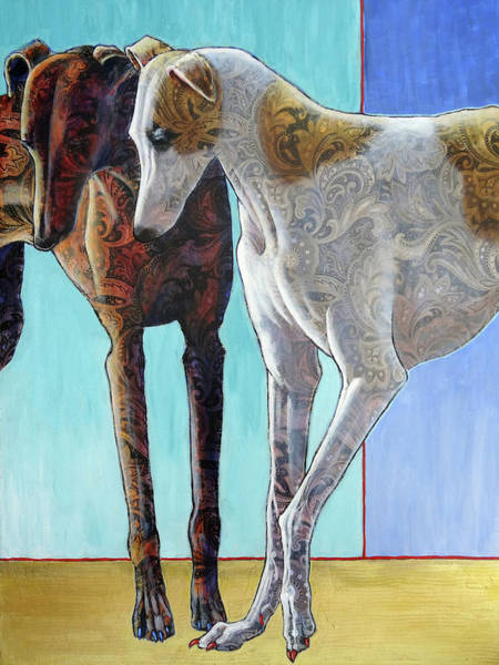 Sighthound Wall Art - Painting - Paisley Paws De Deux by Ande Hall