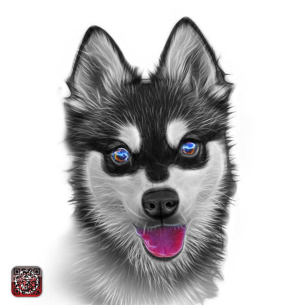 Painting - Greyscale Alaskan Klee Kai - 6029 -wb by James Ahn