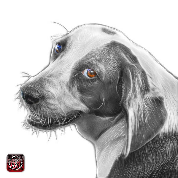 Painting - Greyscale Beagle Dog Art- 6896 -wb by James Ahn