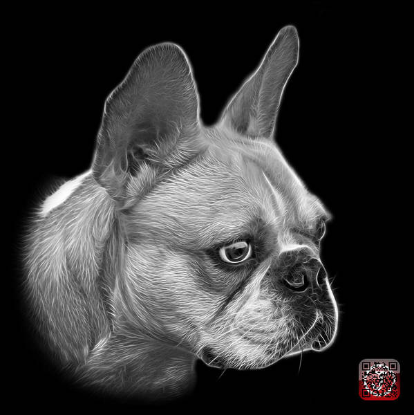 Painting - Greyscale French Bulldog Pop Art - 0755 Bb by James Ahn