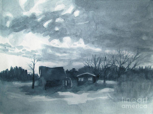 Wall Art - Painting - Greyscale Landscape 1 by Kathy Braud
