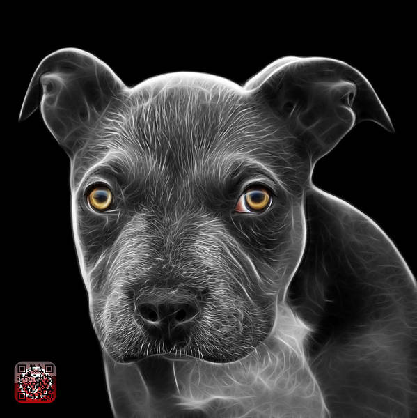 Painting - Greyscale Pitbull Puppy Pop Art - 7085 Bb by James Ahn
