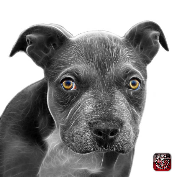 Painting - Greyscale Pitbull Puppy Pop Art - 7085 Wb by James Ahn