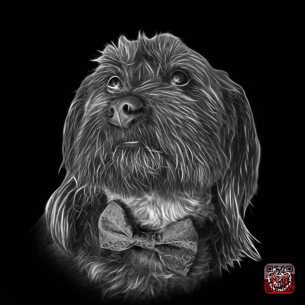 Painting - Greyscale Schnoodle Pop Art 3687 - Bb by James Ahn