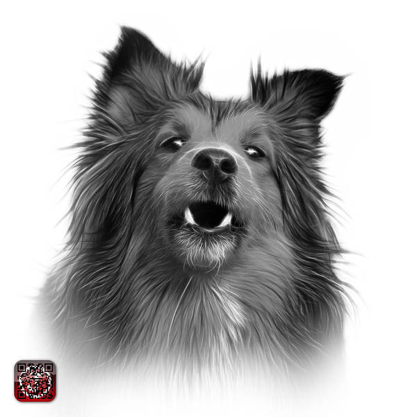 Painting - Greyscale Sheltie Dog Art 0207 - Wb by James Ahn