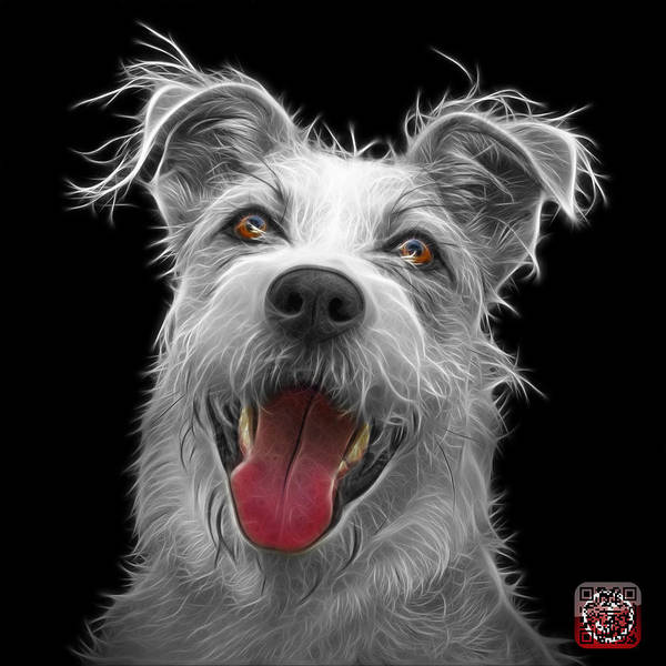 Painting - Greyscale Terrier Mix 2989 - Bb by James Ahn