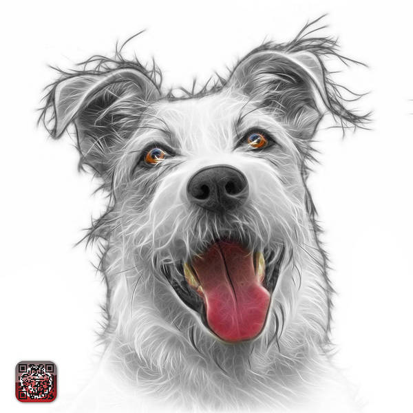Painting - Greyscale Terrier Mix 2989 - Wb by James Ahn