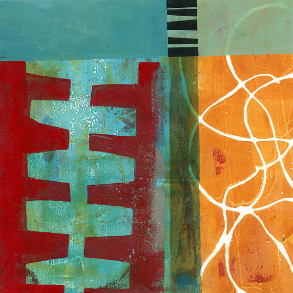 Shapes Painting - Grid Print 12 by Jane Davies