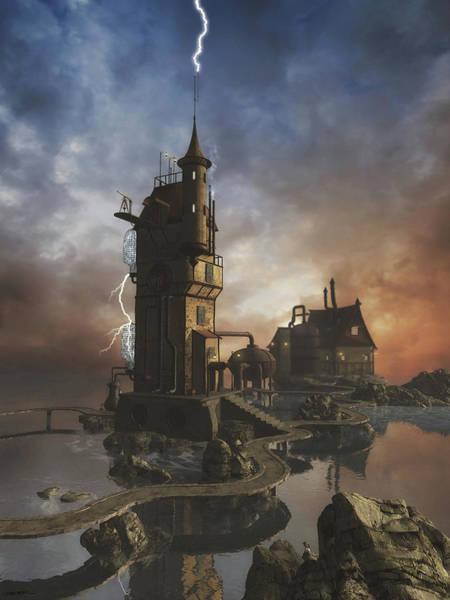Lightning Digital Art - Grid Station 5 by Cynthia Decker