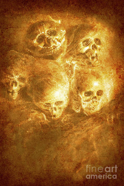 Dark Background Photograph - Grim Tales Of Burning Skulls by Jorgo Photography - Wall Art Gallery