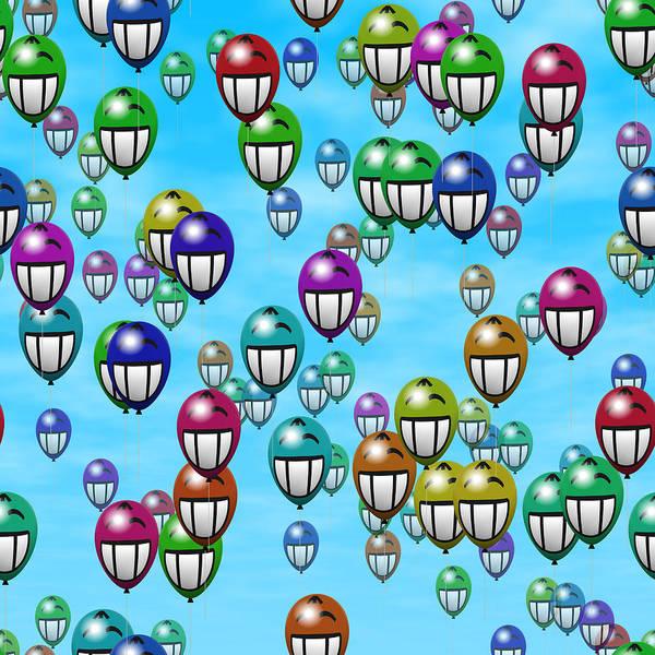 Balloon Festival Digital Art - Grin Smiling Balloons by Miroslav Nemecek