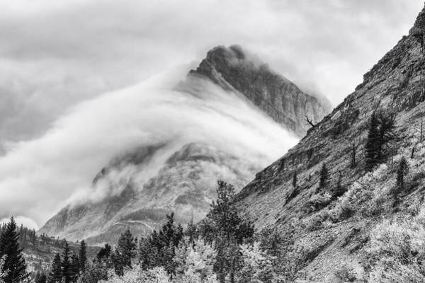 Photograph - Grinnell Cloud Wrap Black And White by Mark Kiver