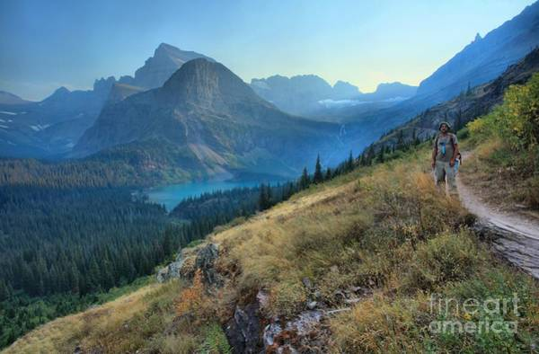 Photograph - Grinnell Glacier Trail Hiker by Adam Jewell