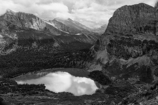 Photograph - Grinnell Lake From The Trail No. 2 Bw - Glacier Np by Belinda Greb