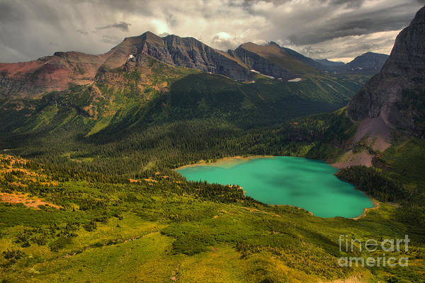 Photograph - Grinnell Lake Under The Summer Storm Clouds by Adam Jewell