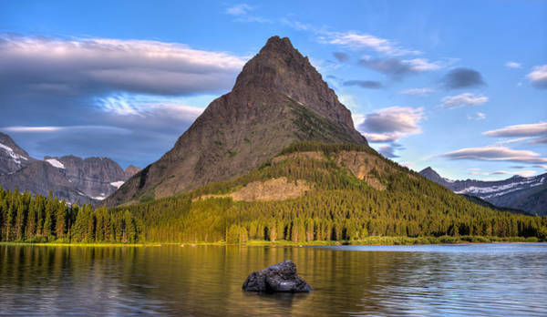 Wall Art - Photograph - Grinnell Peak On Swiftcurrent Lake Glacier N P by Steve Gadomski