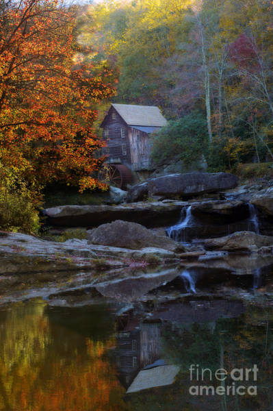 Photograph - Grist Mill At Babcock Park With Reflection by Dan Friend