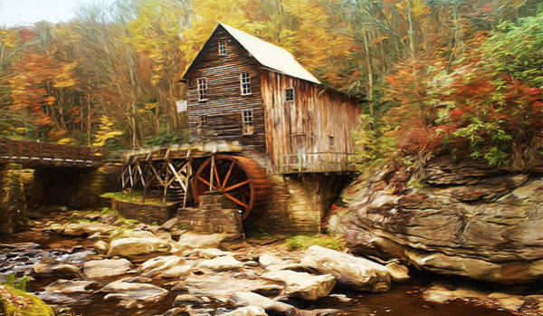Photograph - Glade Grist Mill Painterly by Ola Allen