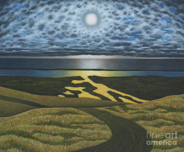 Full Moon Painting - Griswold Point, December by Scott Kahn