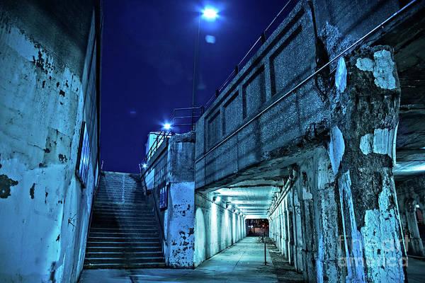 Urban Scene Wall Art - Photograph - Gritty Dark Chicago City Street Under Industrial Bridge Viaduct At Night by Bruno Passigatti