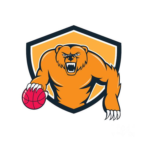 Grizzly Bears Digital Art - Grizzly Bear Angry Dribbling Basketball Shield Cartoon by Aloysius Patrimonio