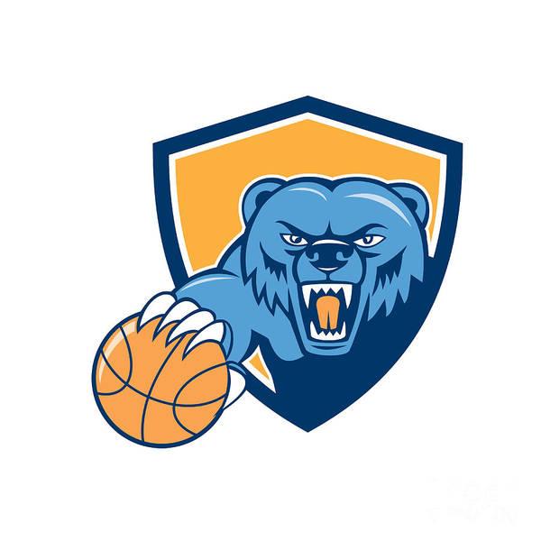Grizzly Bears Digital Art - Grizzly Bear Angry Head Basketball Shield Cartoon by Aloysius Patrimonio
