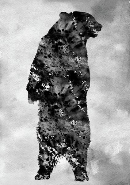 Grizzly Bears Digital Art -  Grizzly Bear-black by Erzebet S