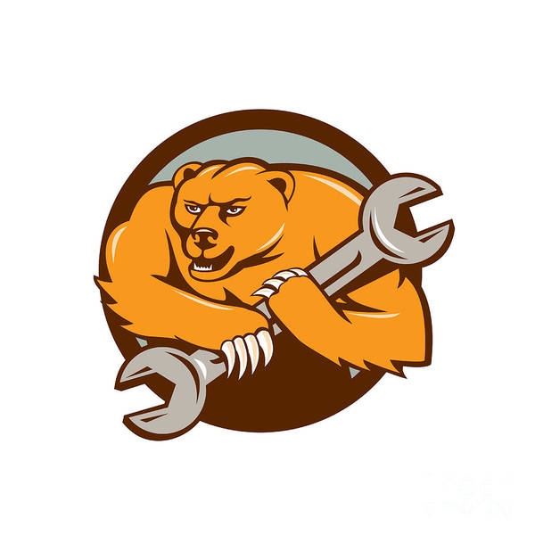 Grizzly Bears Digital Art - Grizzly Bear Mechanic Spanner Circle Cartoon  by Aloysius Patrimonio