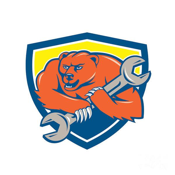 Grizzly Bears Digital Art - Grizzly Bear Mechanic Spanner Shield Cartoon  by Aloysius Patrimonio