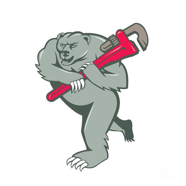 Grizzly Bears Digital Art - Grizzly Bear Plumber Monkey Wrench Cartoon by Aloysius Patrimonio