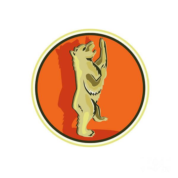 Grizzly Bears Digital Art - Grizzly Bear Standing Circle Retro by Aloysius Patrimonio