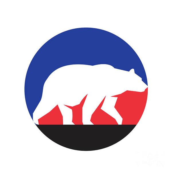 Grizzly Bears Digital Art - Grizzly Bear Walking Silhouette Circle Retro by Aloysius Patrimonio