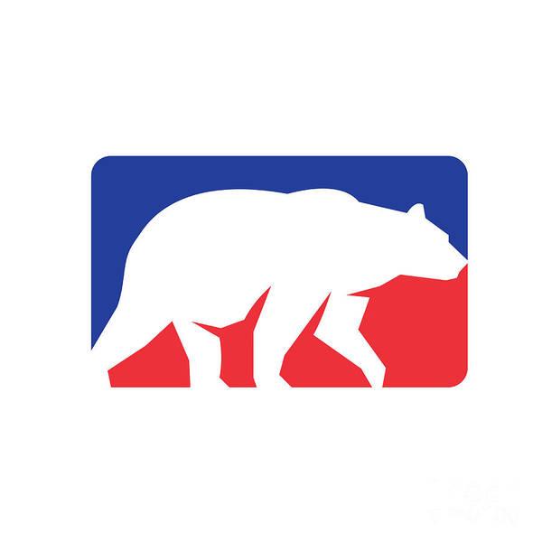 Grizzly Bears Digital Art - Grizzly Bear Walking Silhouette Rectangle Retro by Aloysius Patrimonio