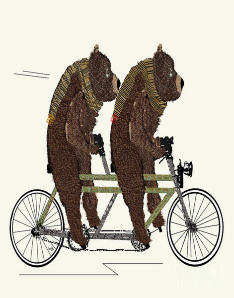 Bicycle Painting - Grizzly Bears Lets Tandem by Bri Buckley