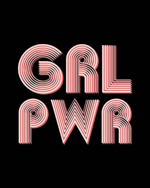 Pop Culture Mixed Media - Grl Pwr 1 - Girl Power - Minimalist Print - Pink - Typography - Quote Poster by Studio Grafiikka