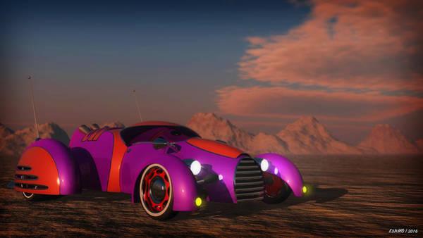 Ken Morris Digital Art - Grobo Car In A Desert Setting by Ken Morris
