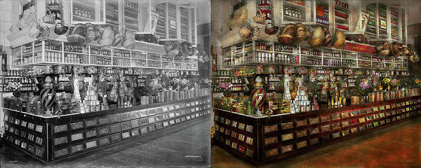 Photograph - Grocery - Edward Neumann - The Groceries 1905 Side By Side by Mike Savad