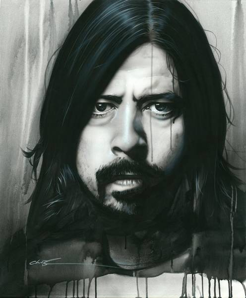Foo Fighters Wall Art - Painting - Grohl In Black by Christian Chapman Art