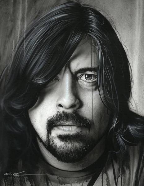 Foo Fighters Wall Art - Painting - Grohl In Black II by Christian Chapman Art