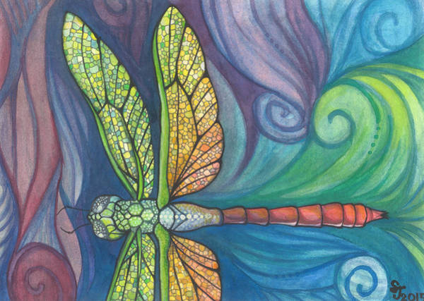 Dragonflies Wall Art - Painting - Groovy Dragonfly Spirit by Sarah Jane