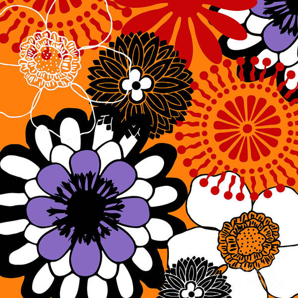 Seamless Painting - Groovy Floral Pattern Red by Mindy Sommers