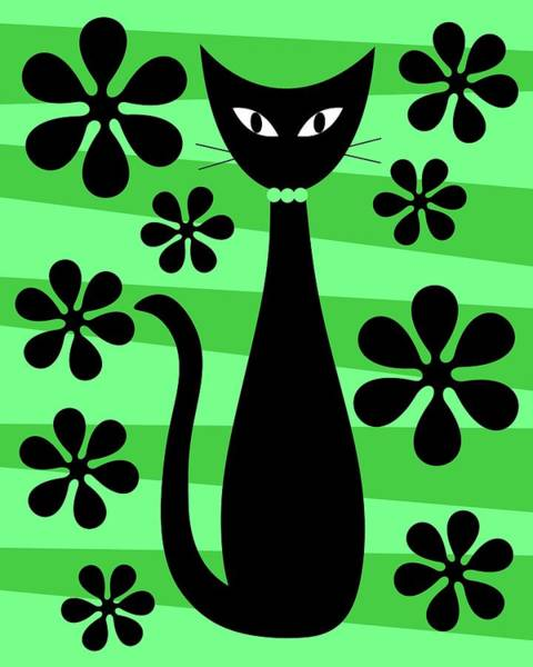 Digital Art - Groovy Flowers With Cat Green And Light Green by Donna Mibus