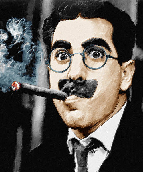 Quick Wall Art - Painting - Groucho Marx Vertical  by Tony Rubino