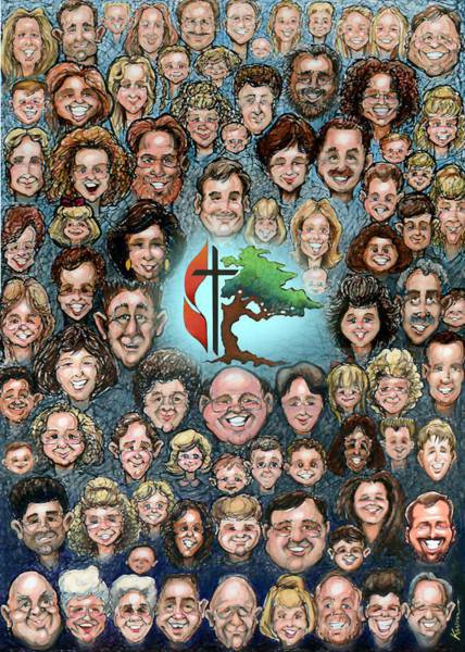 Painting - Group Caricature Style Portrait by Kevin Middleton