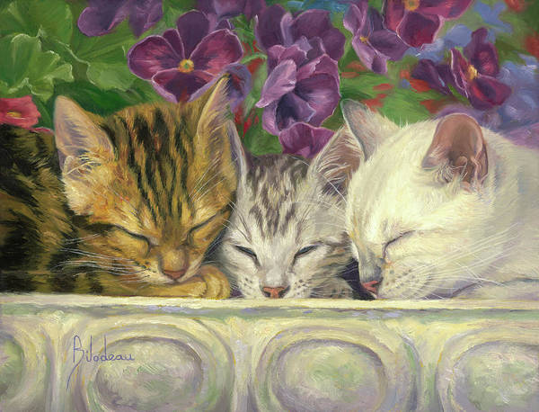Domestic Cat Wall Art - Painting - Group Nap by Lucie Bilodeau