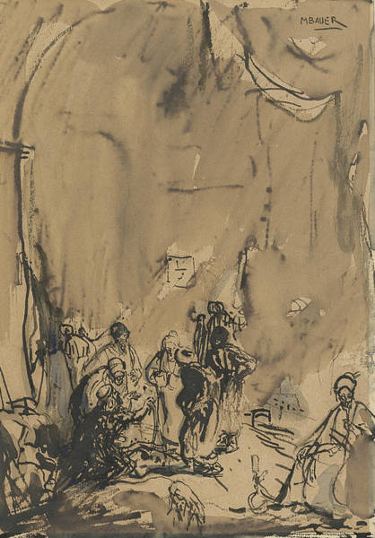 20th Century Man Drawing - Group Of Easterners In Busy Conversation by Marius Bauer
